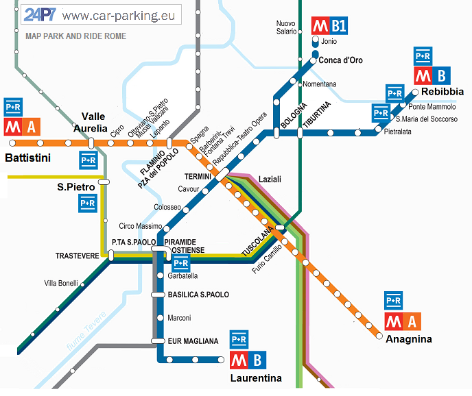 Park And Ride Rome - Rome metro map 2016